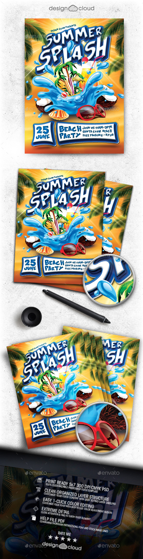GraphicRiver Summer Splash Party Flyer Template 11562221