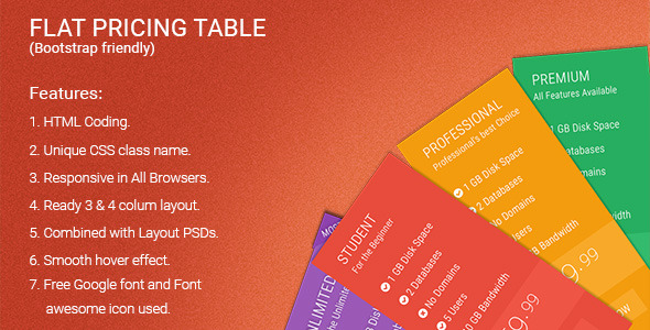 CodeCanyon Flat Pricing Table 11562362