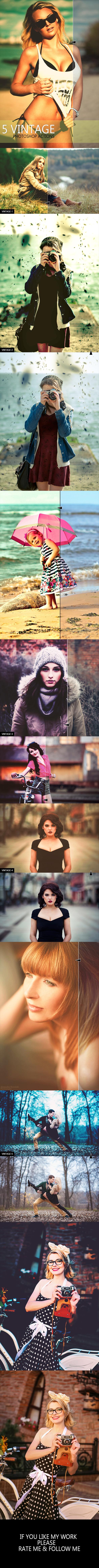 GraphicRiver 5 Vintage Photoshop Action 11562781