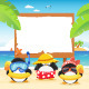 Summer Penguins With Billboard - GraphicRiver Item for Sale