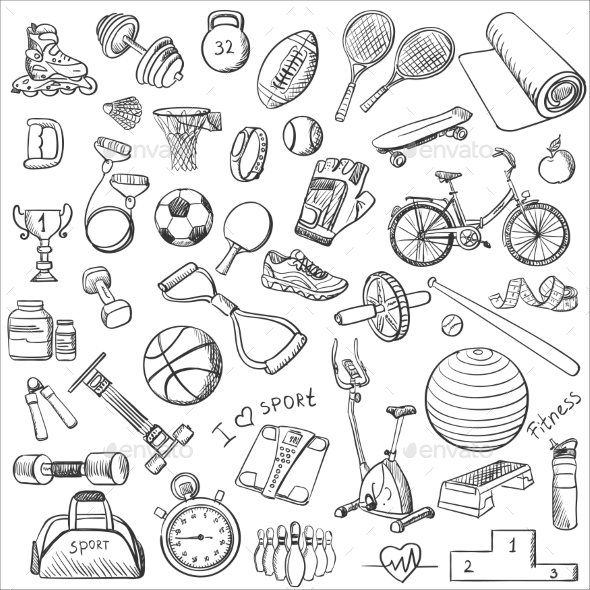 GraphicRiver Hand Drawn Fitness Doodle Set 11562835