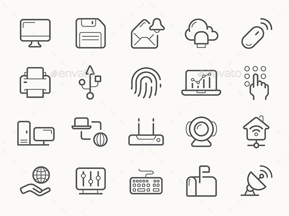GraphicRiver Network Communication And Electronics Line Icons 11562881