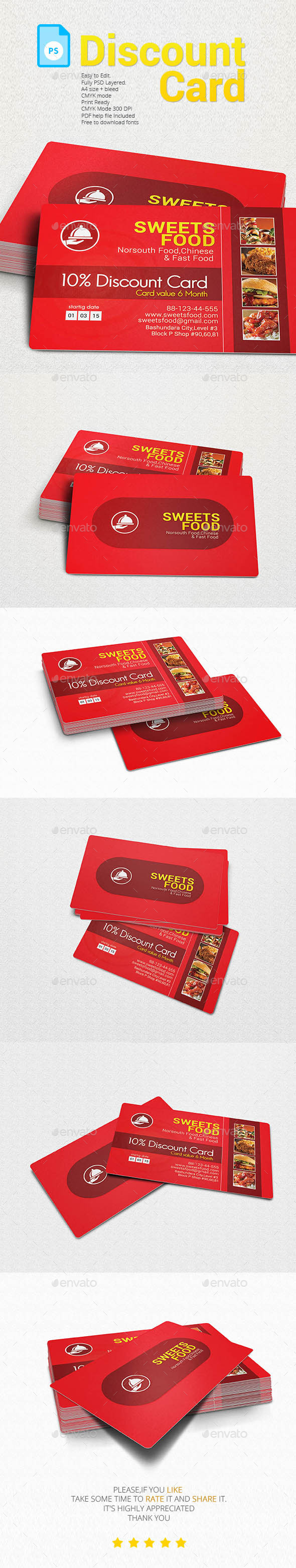 GraphicRiver Restaurants Discount Card 11563315