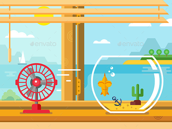 GraphicRiver Fan And Aquarium On Windowsill Next To Open Window 11563479