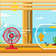 Fan And Aquarium On Windowsill Next To Open Window - GraphicRiver Item for Sale