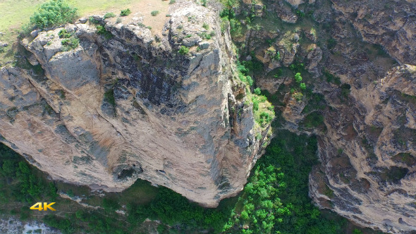 Aerial Flying High Cliff Rocky Canyon 2