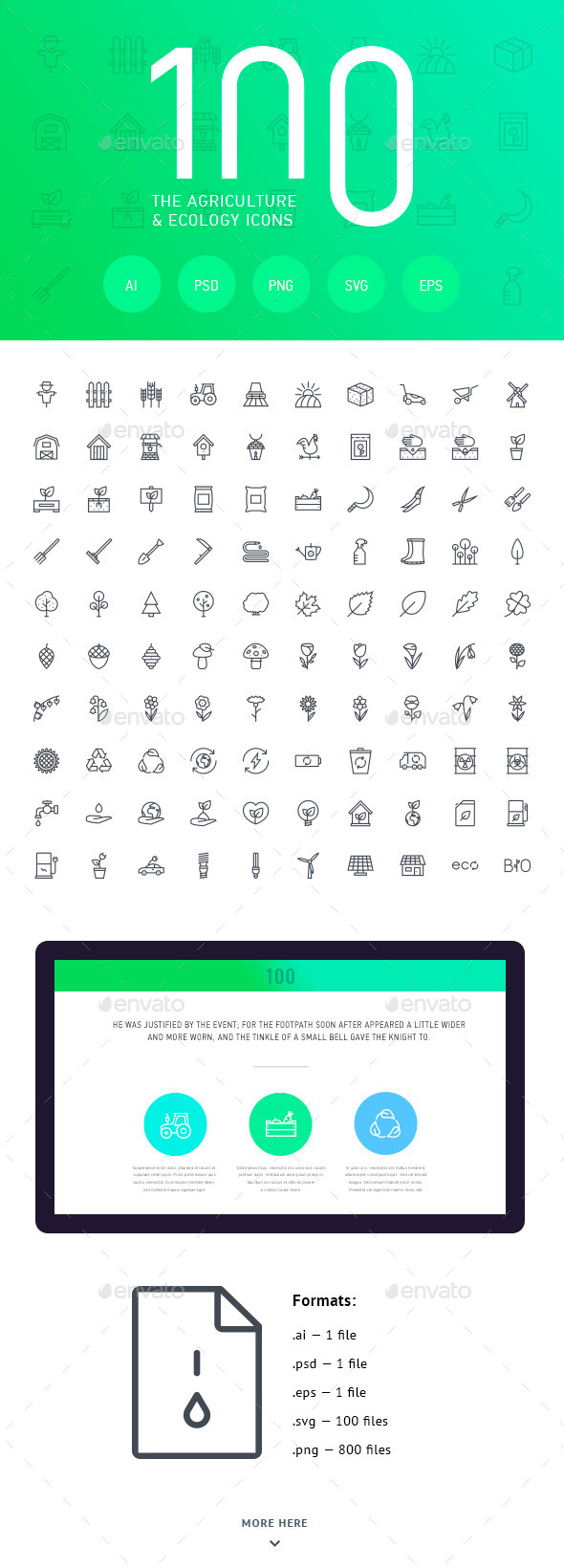 GraphicRiver The Agriculture & Ecology Icons 100 11563823