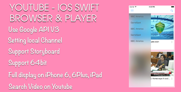 CodeCanyon YouTube Browser and Player iOS Swift 11563907