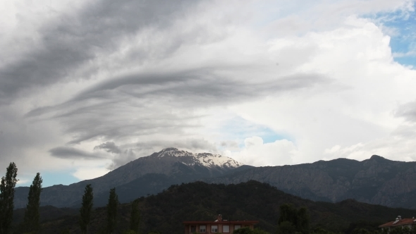 Panoramic View Of Snow Mountains Before Storm