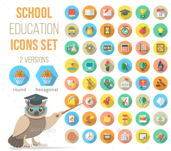 GraphicRiver Flat School Subjects Icons with Long Shadows 11564149