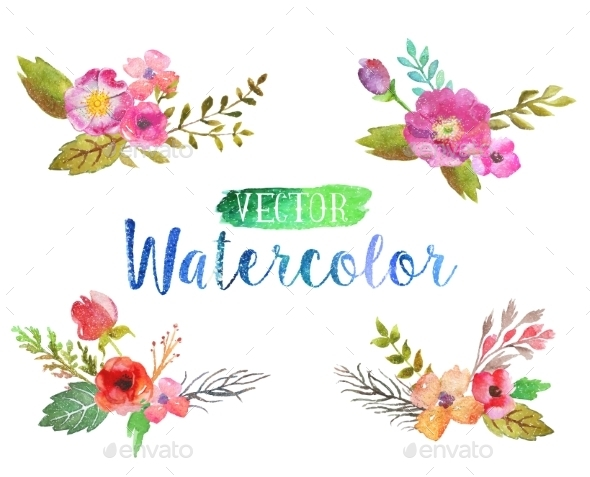 GraphicRiver Vector Watercolor Aquarelle Flowers And Leaves 11564782