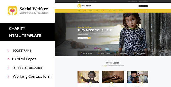 ThemeForest Social Welfare Charity & Non-Profit HTML Template 11532745
