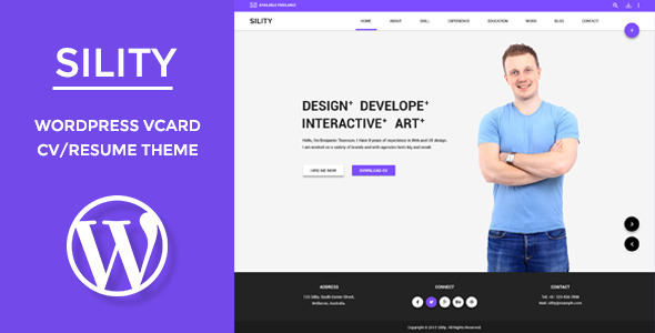 ThemeForest Sility vCard CV & Resume WordPress Theme 11406532