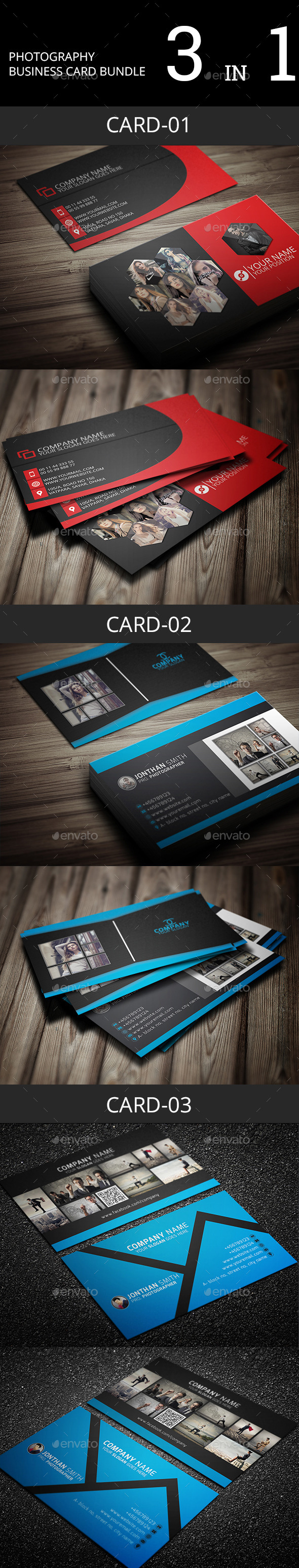 GraphicRiver Photography Business Card Bundle 11564982
