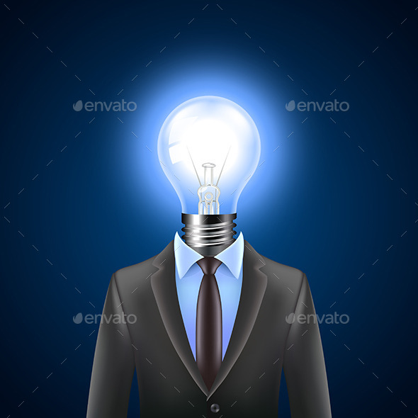 GraphicRiver Lamp-Head Businessman Idea Concept 11565086