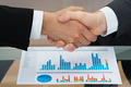 Businesspeople Shaking Hand In Front Of Graph - PhotoDune Item for Sale