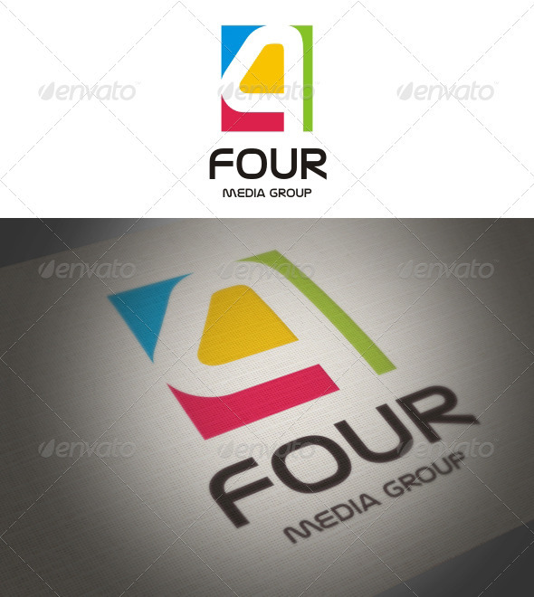 Four - Media Group - Numbers Logo Templates
