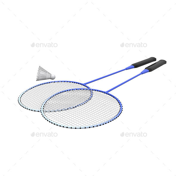 GraphicRiver Badminton Rackets and Shuttlecock Isolated 11565605