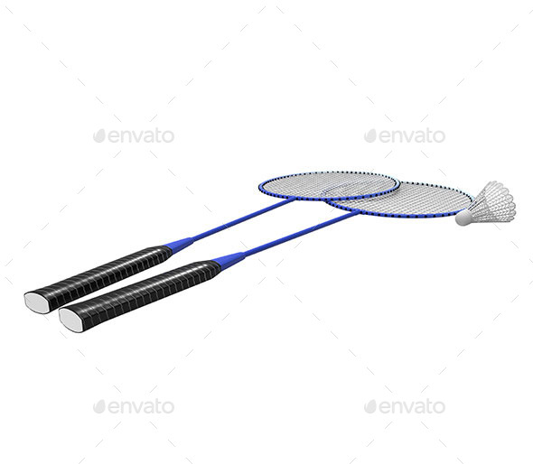 GraphicRiver Badminton Rackets and Shuttlecock Isolated 11565657