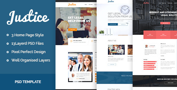 ThemeForest JUSTICE Law & Business PSD Template 11030630