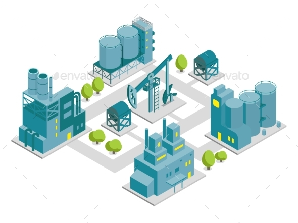 GraphicRiver Set of Isometric Factories 11565995