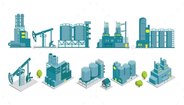 GraphicRiver Set of Isometric and 2D Factory Illustrations 11566271