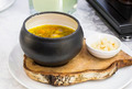 soup with beans and mushrooms garnished with goat cheese - PhotoDune Item for Sale