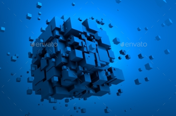 GraphicRiver Abstract 3D Rendering Of Flying Cubes 11566608