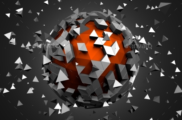 GraphicRiver 3D Rendering Of Sphere With Chaotic Particles 11566612