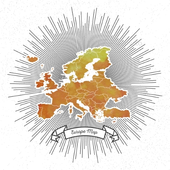 GraphicRiver Europe Map with Vintage Style Star Burst 11566623
