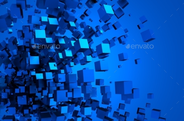 GraphicRiver Abstract 3D Rendering Of Flying Cubes 11566625