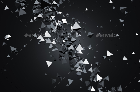 GraphicRiver Abstract 3D Rendering Of Flying Pyramids 11566661