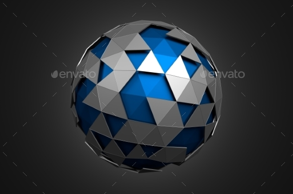GraphicRiver Low Poly Blue Sphere With Chaotic Structure 11566680