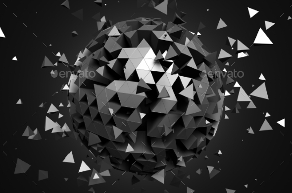 GraphicRiver 3D Rendering Of Sphere With Chaotic Particles 11566685