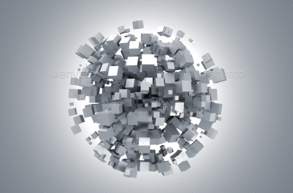 GraphicRiver Abstract 3D Rendering Of White Cubes 11566688