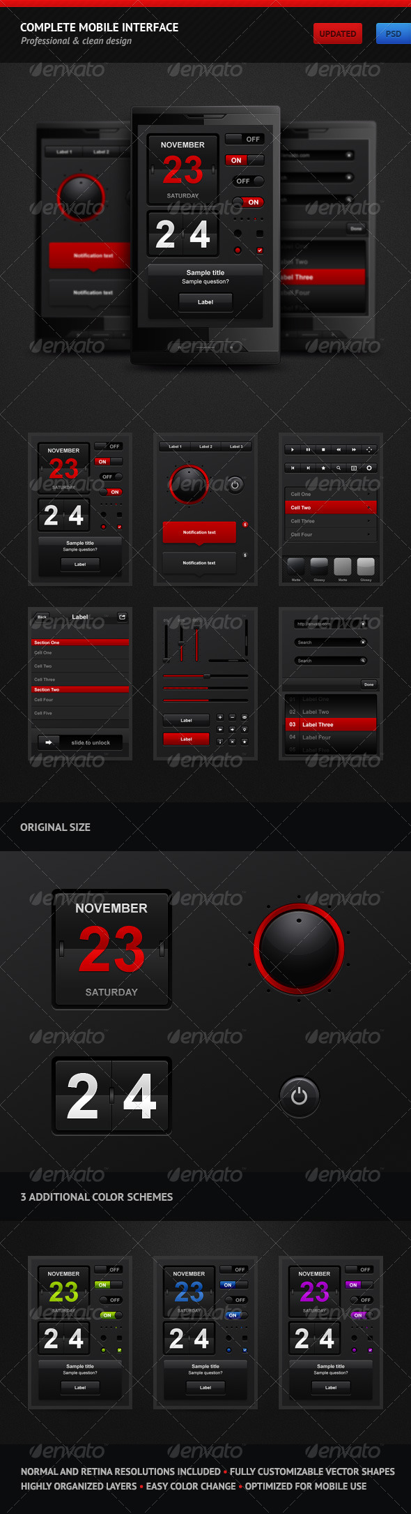 Complete Mobile Interface - User Interfaces Web Elements