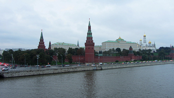 Moscow Kremlin And Ships On River