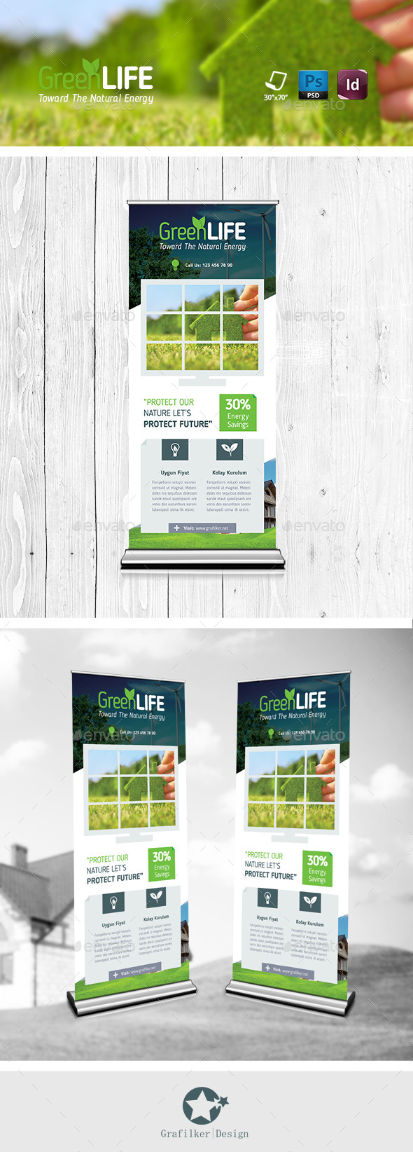 GraphicRiver Green Energy Roll-Up Templates 11570127