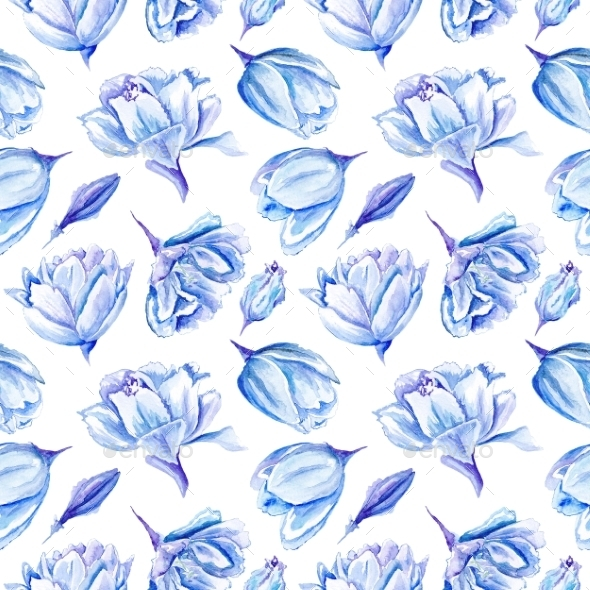 GraphicRiver Blue Watercolor Tulip Pattern 11570283
