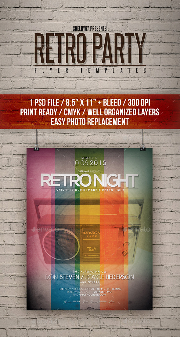 Retro Party Flyer Templates