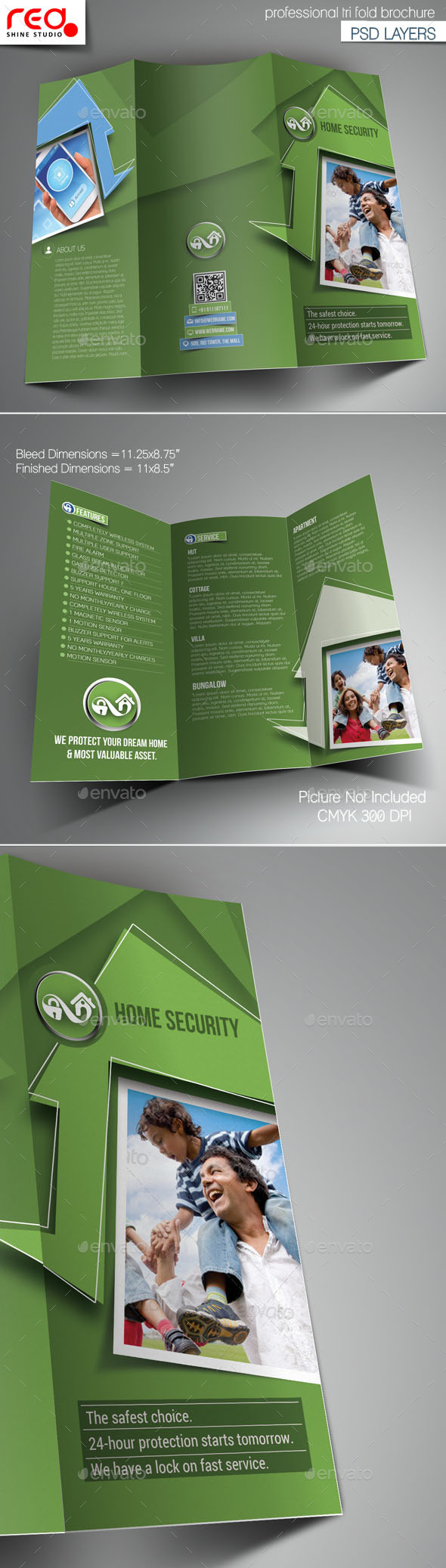 GraphicRiver Home Security Trifold Brochure Template 1 11571361