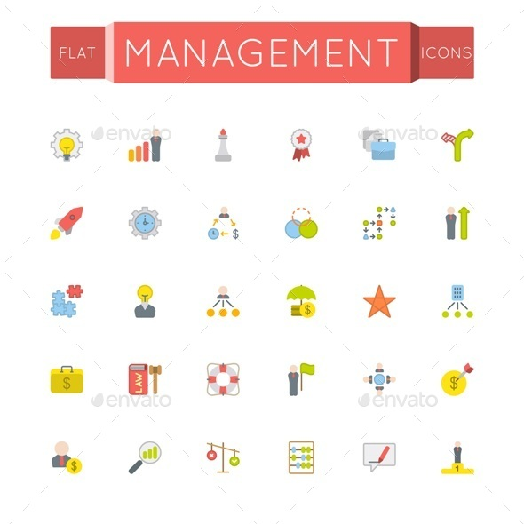 GraphicRiver Vector Flat Management Icons 11571624