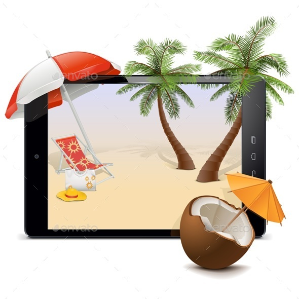 GraphicRiver Tablet PC with Tropical Resort 11571635
