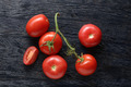 red tomatoes with green salad on wood - PhotoDune Item for Sale