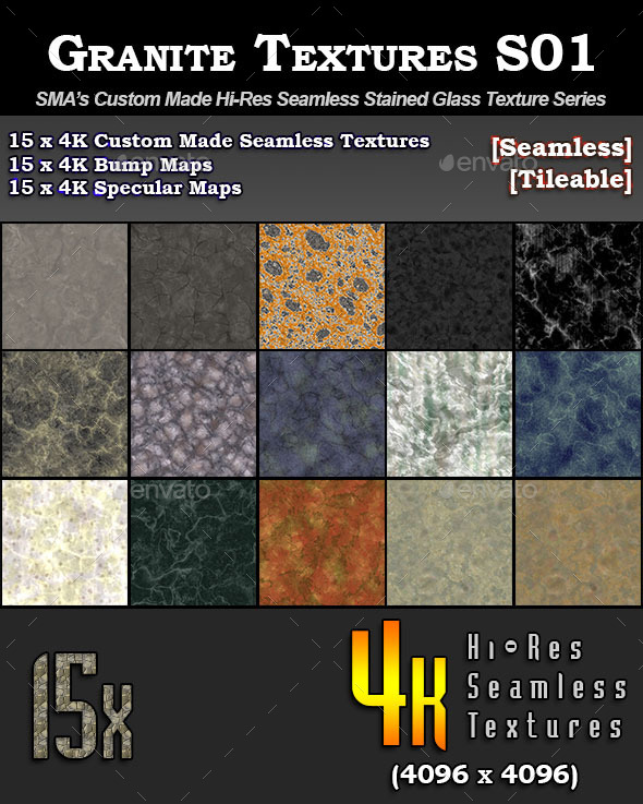 Hi-Res Granite Textures - S01 - 3DOcean Item for Sale
