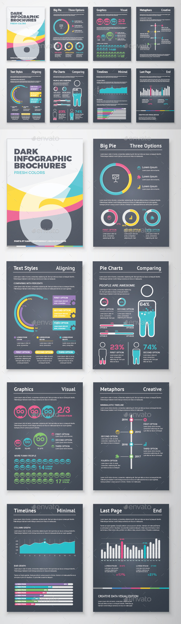 GraphicRiver Dark Infographic Brochure Vector Elements Kit 6 11573093