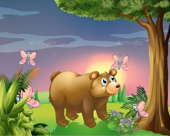 GraphicRiver Bear Under Tree with Four Butterflies 11573471