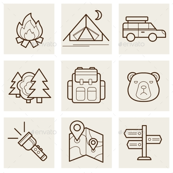 GraphicRiver Camping and Outdoor Outline Icons 11574391