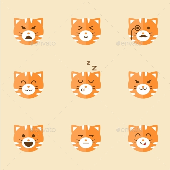 GraphicRiver Vector Icons Of Smiley Cat Faces 11575687