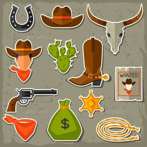 GraphicRiver Wild West Cowboy Objects and Stickers Set 11577146